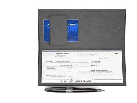 checkbook: Illustration rendering and isolated checkbook, check and pen