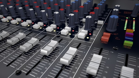 metalized: Illustration of the 3D rendered Audio Mixer Stock Photo