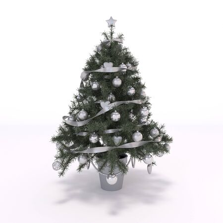 christmastree: 3D rendered illustration of xmas tree and decoration Stock Photo