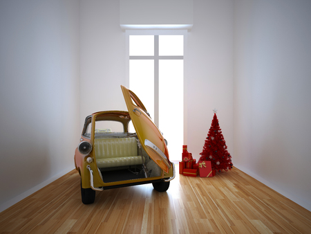 rendered illustration of old italy dream car in livingroom illustration