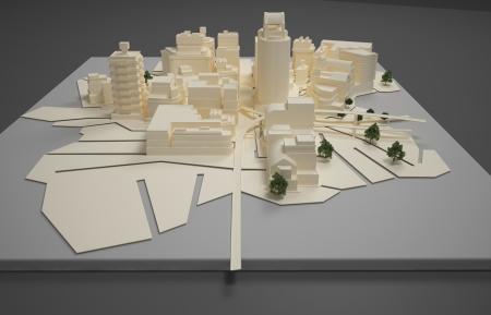 3D rendering Illustration of architect plan model illustration