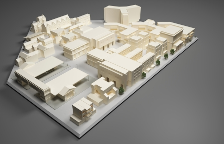 3D rendering Illustration of architect plan model Stock Photo