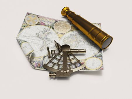 illustration sextant, telescope and map isolated