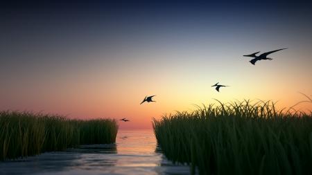 lizard in field: Ilustraci�n 3D representa el pteranodon volando sobre la hierba y el agua