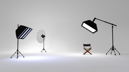 3D rendered illustration of studio and photo setup
