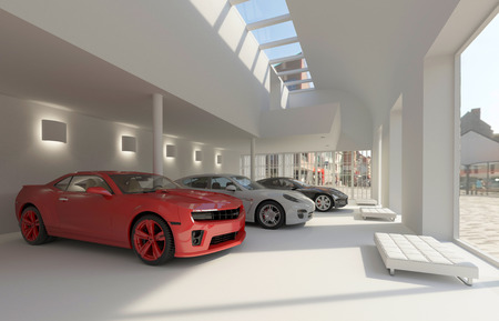 new motor vehicles: illustration car dealer and automobile in the showroom