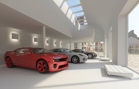 ilustração revendedor de automóveis e de automóveis na sala de exposições Imagens