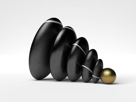weighty: 3D rendered illustration of gold Sphere and pepple Stones