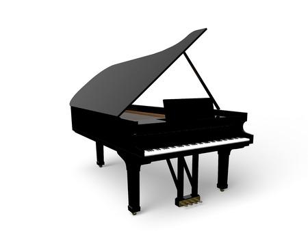 3D illustratie van zwarte piano vleugel geïsoleerd