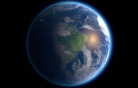 earthlike: rendered illustration Earth as seen from outer space Stock Photo