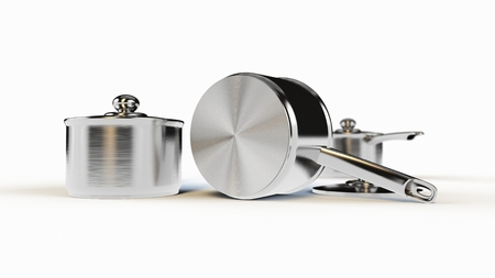 rendered three identical optional stainless steel pots photo