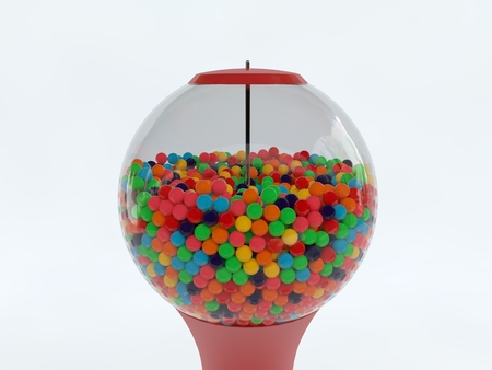 bubble gum: 3d rendered illustration of colorful gumball machine isolated Stock Photo