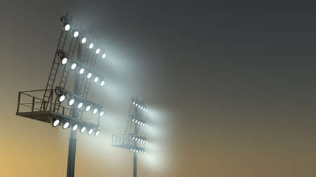 3d rendered illustration of two stadium light with fog