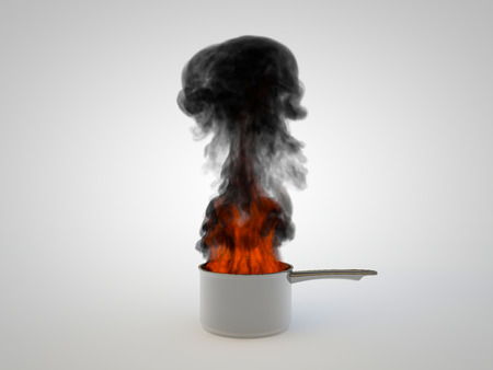 rendered illustration of a pan overheated and in flameson white background illustration