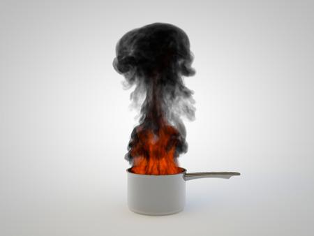 teruggegeven illustratie van een pan oververhit en in flameson witte achtergrond Stockfoto