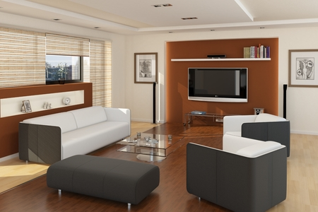 3d bungalow: Computer rendered illustration modern living room with tv and wooden floor
