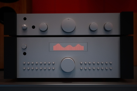 hifi: Computer rendered illustration of one hifi forwards and final amplifier in dark diffusion background Stock Photo