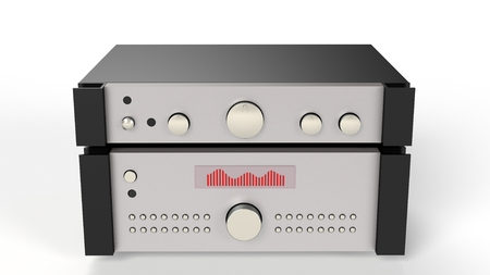 hifi: Computer rendered illustration of one hifi forwards and final amplifier on white background Stock Photo