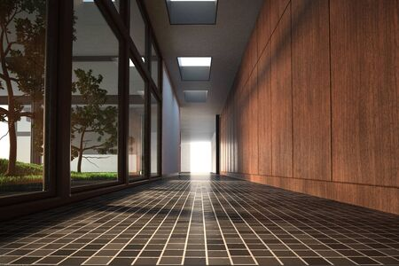 Computer generated illustration of a long floor with glass and wooden walls illustration