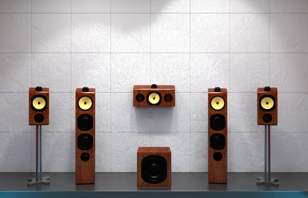 hi fi:  Computer rendered illustration of a home multimedia speakers on stage Stock Photo