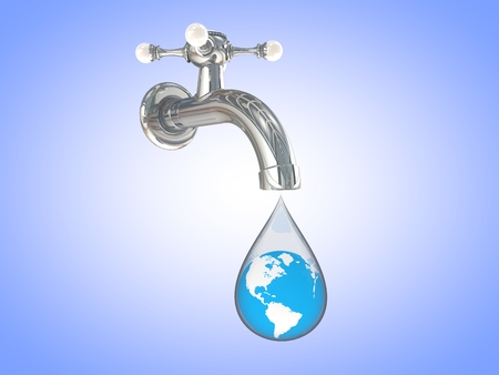 3D computer rendered illustration faucet dripping with earth in and blue background Stock Photo