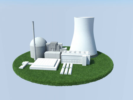 power projection: 3D computer rendered illustration Nuclear Powerplan of green plant Stock Photo