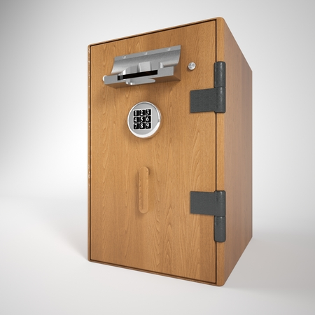 bancomat: 3d illustration isolated on a cash machine in wooden