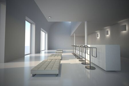 3D rendered illustration whites showroom with sitting bar and lots of light illustration