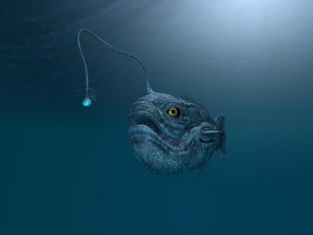 computer made illustration of an ancient angler fish
