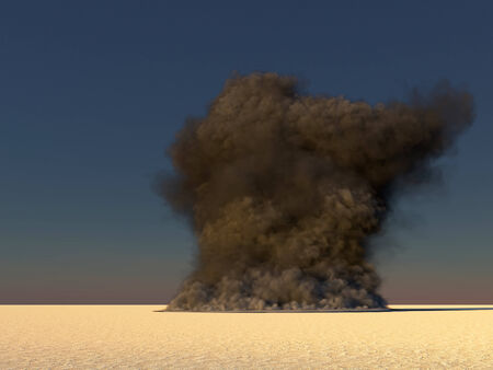 nuke: Computer generated illustration of a large smoke in the desert
