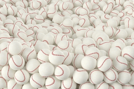 infield: 3D computer rendered illustration the Different Baseballs Stock Photo