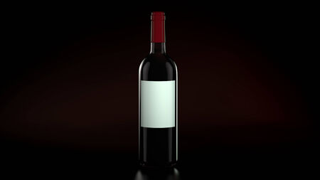 Computer rendered one Single Bottle Red Wine on dark background photo