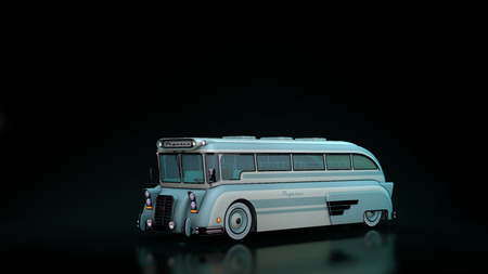 computer rendered illustration of Old Pegasus school Bus Model illustration