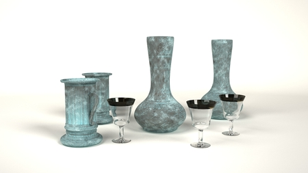 verdigris: computer rendered old drinking vessels made of glass and iron with verdigris