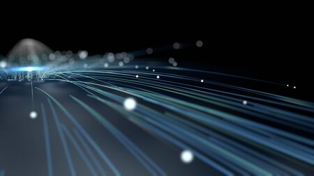 3D Computer rendered illustration of lightstrokes in blue