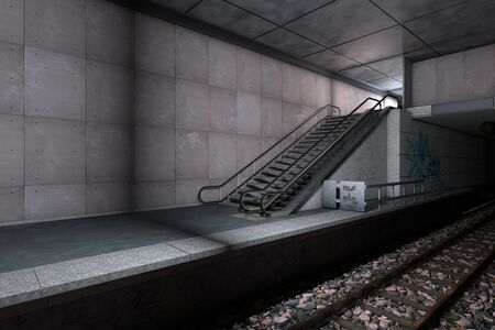 underground: 3D rendered illustration of the underground metro station Stock Photo