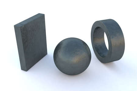 cast iron: computer-rendered elements in various steel Metal Cast Iron