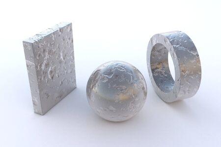 platinum: computer rendered various steel elements in Platinum Raw