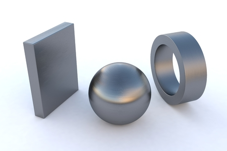 anisotropy: computer rendered various steel elements in Stainless Steel Anisotropy Stock Photo