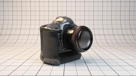 dslr: 3d rendered illustration highest-end DSLR camera of studio stage
