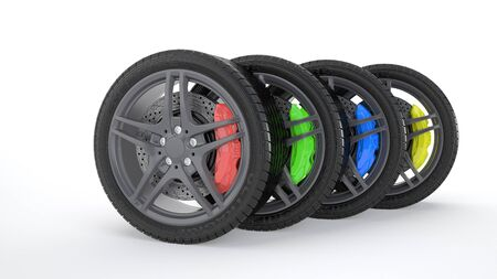 summer tires: computer rendered summer tires and rims with colorful brakes