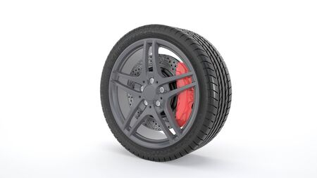 summer tires: computer rendered summer tires and rims with red brakes
