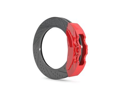 brake caliper: computer rendered illustration Brake caliper and brake disc in red Stock Photo