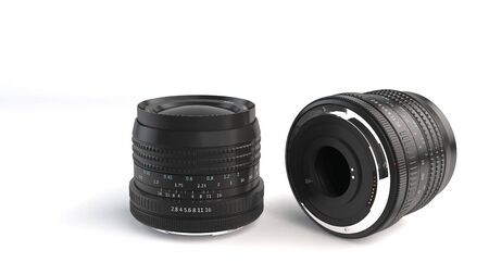 sawdust: Computer Generated Illustration of camera lens on white background