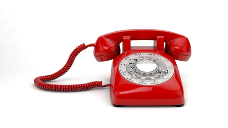 Computer Generated Illustration of plastic Red Telephone on White Background