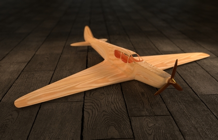l boy: Computer Generated Illustration of Toy Airplane on wooden Ground Stock Photo