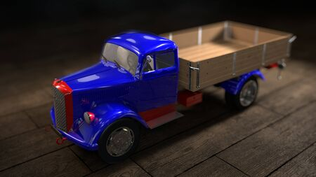Computer Generated Illustration of Toy Truck on wooden ground