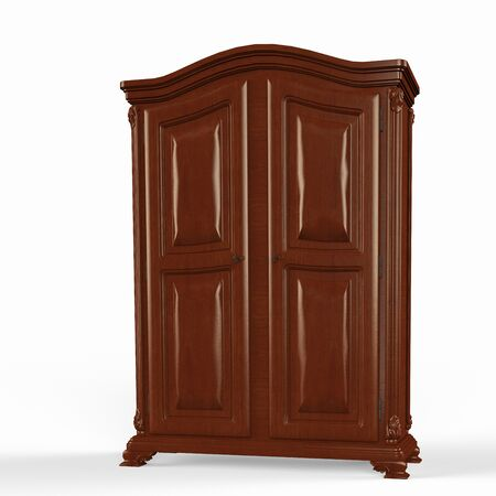 3D rendered illustration of old wooden Wardrobe on a white background