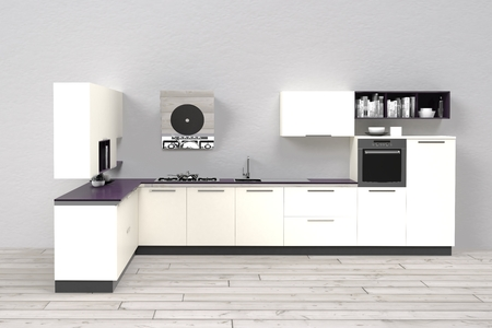 eclecticism: 3d computer rendered illustration of modern kitchen Stock Photo
