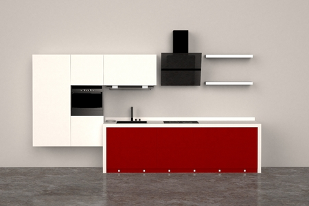 3d computer rendered illustration of modern kitchen Stock Photo